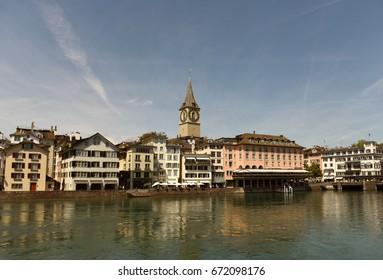 Zurich cityscape with Limmatquai and St. Peter Church, Switzerland