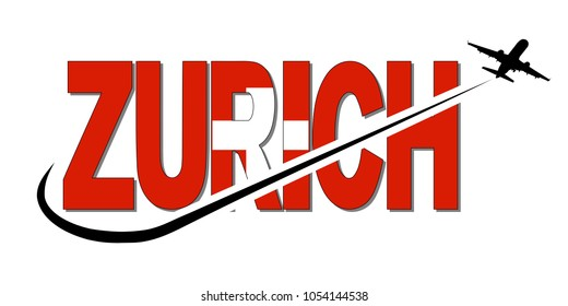 Zurich flag text with plane silhouette and swoosh illustration