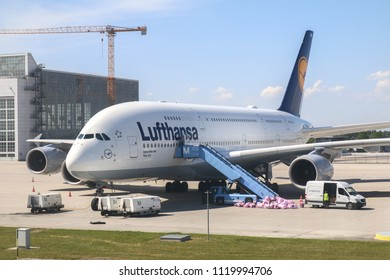 ZURICH, GERMANY : May 28, 2018 - A Lufthansa Airlines A380 aircraft parked on tarmac at Zurich Airport.