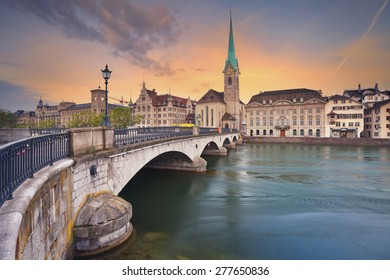 Zurich. Image of Zurich, capital of Switzerland, during dramatic sunrise.