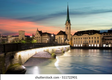 Zurich. Image of Zurich, capital of Switzerland, during dramatic sunset.