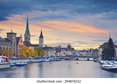 Zurich. Image of Zurich, Switzerland during autumn sunset.