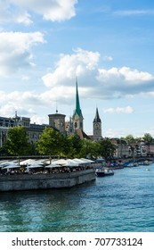zurich inner city historic view with water in summer for tourism and travel
