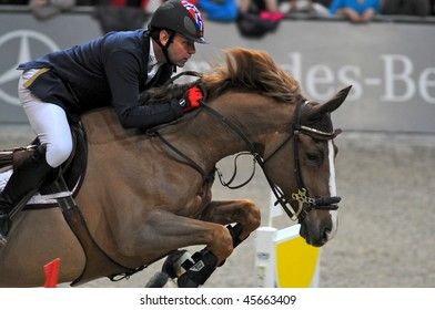 ZURICH - JANUARY 31: Geir Gulliksen (NOR) in action during the ROLEX FEI World Cup on January 31, 2010 in Zurich.