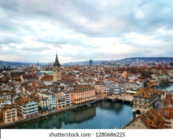 Zurich - January 3,2019 : Landscape on the top of the Grossmunster Tower,which is the oldest and iconic church of Zurich. Overlooking the 360 degree town view.