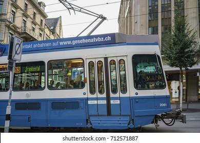 Zurich, JUL 15: The CBB - Zurich Public transport tool and cityscape on JUL 15, 2017 at Switzerland