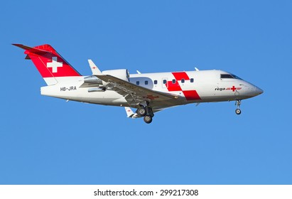 ZURICH - JULY 18: REGA Air Ambulance landing in Zurich after short haul flight on July 18, 2015 in Zurich, Switzerland. Main task of Rega Air is to carry out air-rescue and repatriation operations.