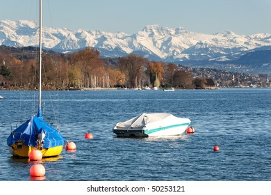 Zurich lake with alps