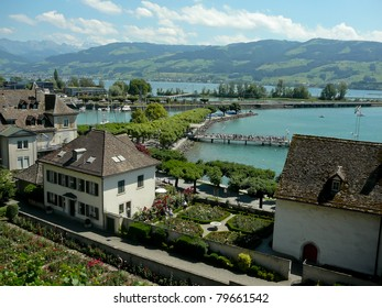 Zurich lake with alps, panorama view and destination of switzerland