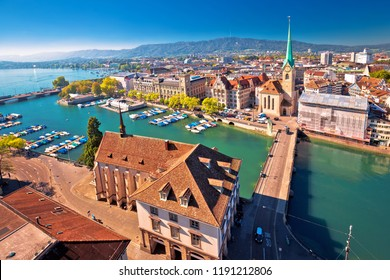 Zurich and Limmat river waterfront aerial view, largest city in Switzerland