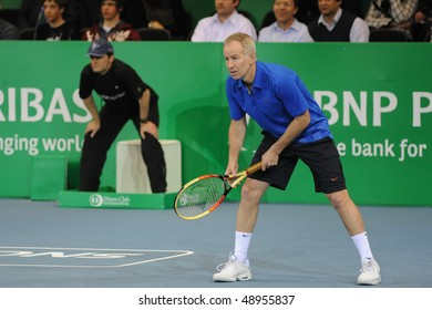 ZURICH - MARCH 10: John McEnroe in action, against Henry Laconte, during the ATP Champions BNP Paribas Zurich Open on March 10, 2010 in Zurich.