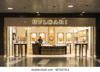 ZURICH - MARCH 21, 2015: A BVLGARI jewelry watch and fashion outlet. Bulgari was founded in Rome in 1884 as a jewelry store.
