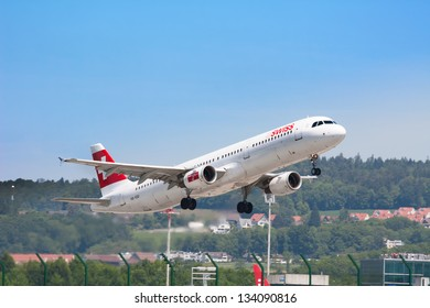 ZURICH - MAY 24:Airbus A330 Swiss airlines taking off on May 24, 2010 in Zurich, Switzerland. Zurich International Airport is one of the major Europian Hub and home port of Swiss airline.