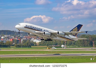 ZURICH - September 08:  Singapore Airlines A-380 taking off at Terminal A of Zurich Airport on September 8, 2018 in Zurich, Switzerland. Zurich airport is home port for Swiss Air and european hub.