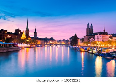 Zurich Skyline and the River Limmat in the Evening (Switzerland)