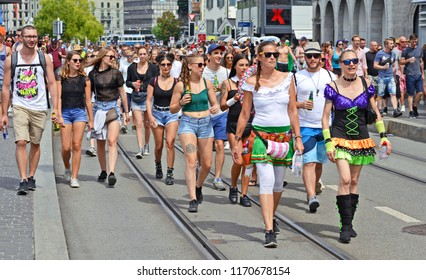 Zurich, Swiss Confederation August 11, 2018: Participants and guests of Street Parade 2018 on the city street.