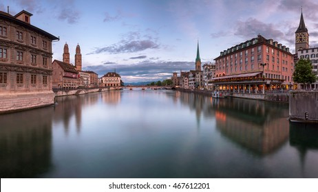 ZURICH, SWITZELAND - 04 June, 2016: Zurich Skyline and Limmat River. The river commences at the outfall of Lake Zurich, in the centre of the city of Zurich.