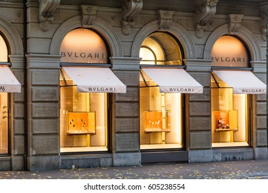 Zurich, Switzerland - 04 November, 2016:  Bvlgari store in Zurich, Switzerland.