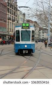 Zurich, Switzerland - 04/01/2018: tram in Zurich