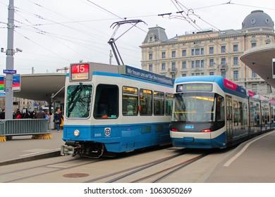 Zurich, Switzerland - 04/01/2018: trams at Bellevueplatz in Zurich