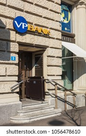 Zurich, Switzerland - 10 April, 2016: entrance to the office of the VP Bank Switzerland on Bahnhofstrasse street in Zurich.  VP Bank Switzerland AG operates as a private bank.