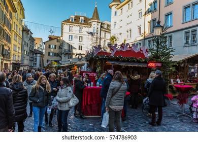 Zurich, Switzerland - 10 december 2016: Walking the streets of Zurich