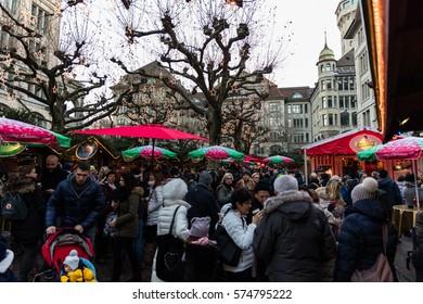 Zurich, Switzerland - 10 december 2016: Zurich Christmas Market