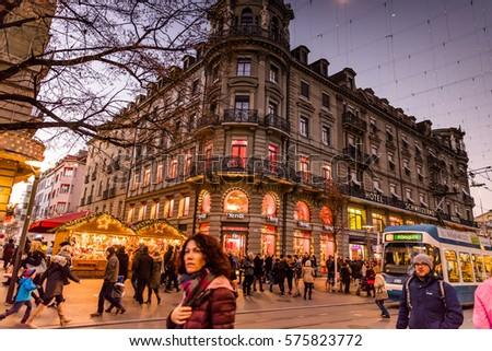 zurich switzerland 10 december 2016 zurich christmas market