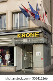 Zurich, Switzerland - 13 April, 2015: entrance of the Hotel Krone on the Limmatquai quay. Zurich is the largest city in Switzerland and the capital of the Canton of Zurich.