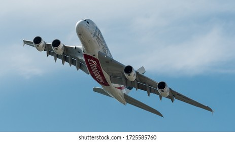 Zurich, Switzerland; 15 March 2017: Emirates A380 taking off, gear up