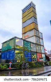 ZURICH, SWITZERLAND - 16th December 2017: Freitag Flagship Store in Zurich, this extraordinary shop is made up of truck containers in the west of Zurich, has an observatory tower on 7th floor.
