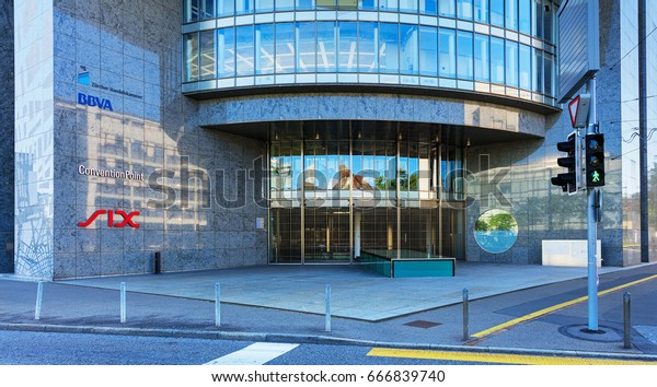Zurich, Switzerland - 18 June, 2017: entrance to the SIX Swiss Exchange building, closed on Sunday. SIX Swiss Exchange is Switzerland's principal stock exchange.