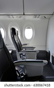 ZURICH, SWITZERLAND -20 APR 2017- View of seats inside a Bombardier CS100 airplane from Swiss international airline Swiss (LX). Swiss was the launch customer for the Bombardier C series plane.