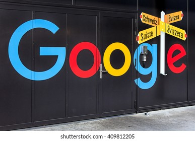 Zurich, Switzerland - 20 April, 2016: painting on the wall of the Google office building. Google is a multinational technology company specializing in Internet-related services and products.