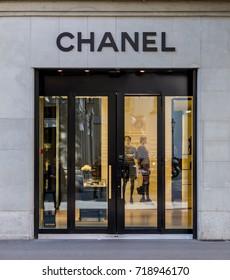 Zurich Switzerland 2017/09/20 Chanel Boutique at Bahnhofstrasse in Zurich. Bahnhofstrasse is the most expensive shopping street in Switzerland