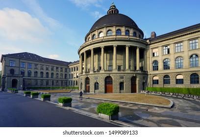 ZURICH, SWITZERLAND -22 MAY 2019- View of the ETH (Swiss Federal Institute of Technology in Zurich), a world-famous science and technology university in Zurich, Switzerland where Einstein studied.