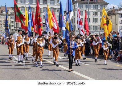 Zurich, Switzerland - 23. April 2017: Sechselauten parade. Sechselauten is a tradtional spring holiday in the city of Zurich to celebrate the winter end.