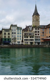 ZURICH, SWITZERLAND -23 JULY 2016- A landscape view of Zurich on the Limmat River. The Swiss city is a global center for finance and insurance.