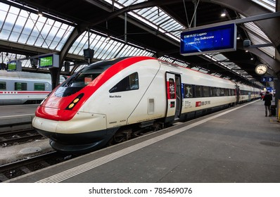 Zurich, Switzerland - 24 January, 2017: a locomotive named after Mani Matter at a platform of the Zurich main railway station. Mani Matter (officially Hans-Peter Matter) was a popular Swiss singer.