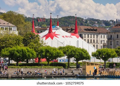 Zurich, Switzerland - 26 May, 2016: embankment of Lake Zurich, buildings of the city and the venue of the Circus Knie in the background. Circus Knie is the largest circus of Switzerland.