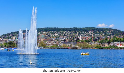 Zurich, Switzerland - 26 May, 2016: Lake Zurich, the city in the background. Lake Zurich is a lake in Switzerland, extending southeast of the city of Zurich.