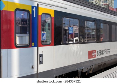 Zurich, Switzerland - 3 June, 2015: a first class carriage of a train standing at a platform of the Zurich main railway station. Zurich is the largest city in Switzerland.