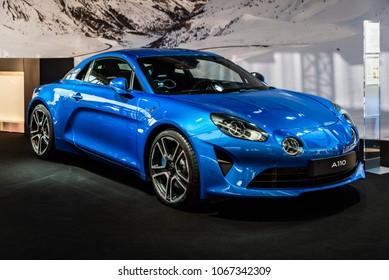 Zurich, Switzerland 3. November 2017. front side view of a blue Alpine A110 Premiere edition at AutoZürich car show