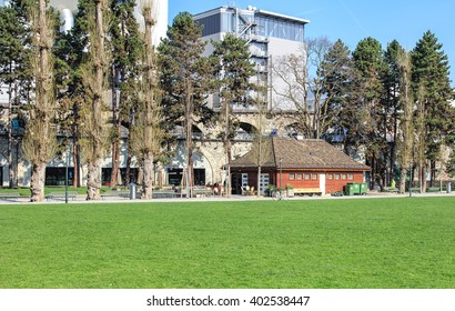 Zurich, Switzerland - 4 April, 2016: view in the Josefswiese park with the railroad viaduct in the background. Zurich is the largest city in Switzerland and the capital of the Swiss canton of Zurich.