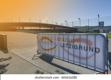 Zurich, Switzerland - April 2017: Letzigrund stadium - the official arena of FC Grasshoppers