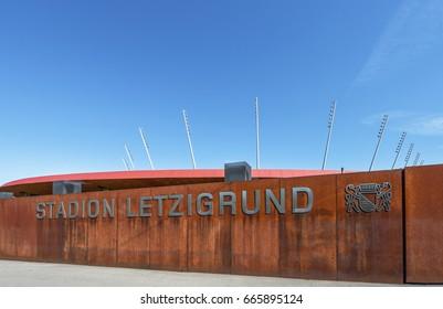 Zurich, Switzerland - April 2017: view on Letzigrund stadium - the official playground of FC Grasshoppers