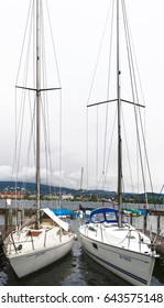 Zurich, Switzerland - April 2017: yachts at one of the wharfs at Zurich lake