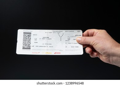 Zurich, Switzerland. April 2018.  A Swiss Airlines Boarding pass on the hand