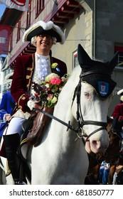 ZURICH, SWITZERLAND - APRIL 24, 2017: Sechseläuten - is a traditional spring holiday in the Swiss city of Zürich