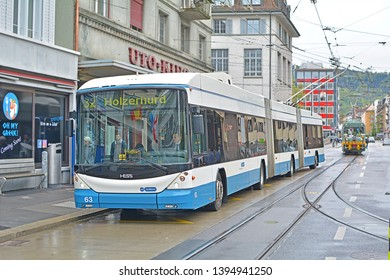ZURICH, SWITZERLAND - APRIL 26, 2019 - Double-articulated trolleybus, delivered by Hess and operated by Verkehrsbetriebe Zurich in the centre